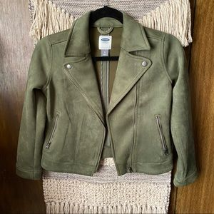Old Navy Green Faux Suede Moto Jacket Girls 8 M